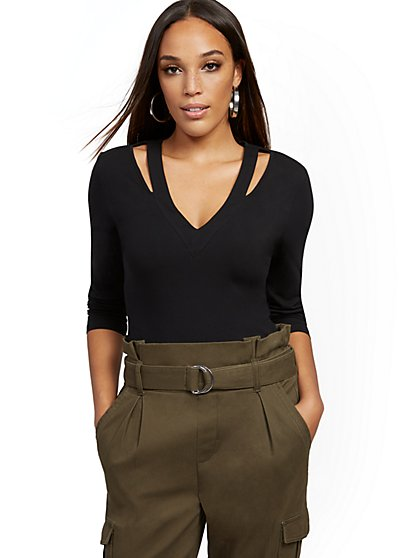 Cutout V-Neck Top - New York & Company