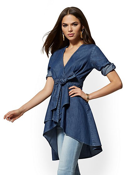 Dark Blue Hi-Lo Cotton Wrap Blouse - New York & Company