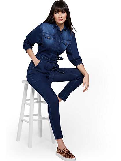 Dark Wash Denim Jumpsuit - New York & Company