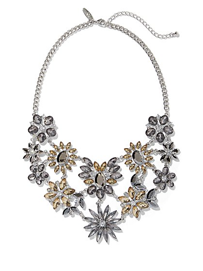 Dazzling Floral Faux-Stone Statement Necklace - New York & Company