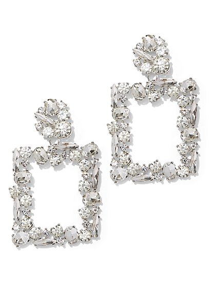 Dazzling Silvertone Square Drop Earring - New York & Company
