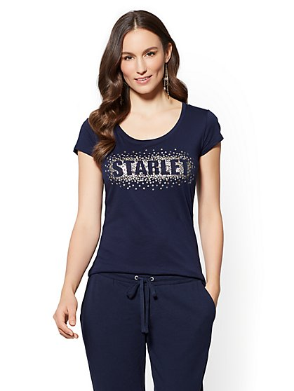 "Dazzling ""Starlet"" Graphic Logo Tee - New York & Company"