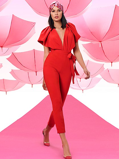 Deep V-Neck Jumpsuit - New York & Company
