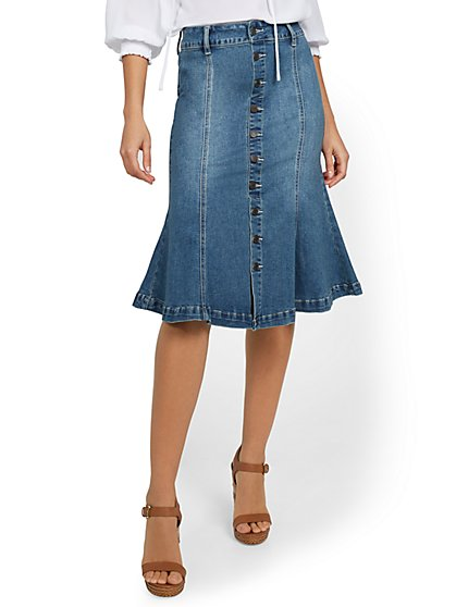 Denim Button-Front Peplum-Hem Skirt - New York & Company