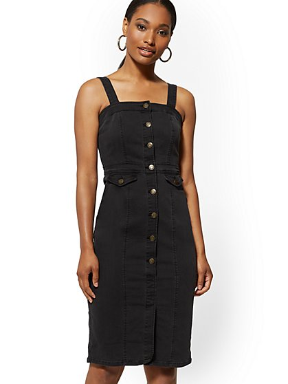 Denim Dress - Black - New York & Company