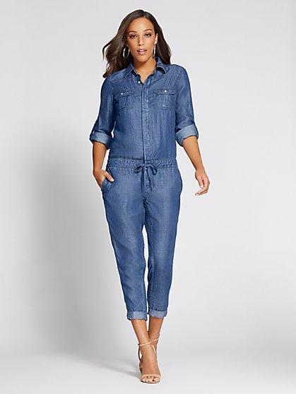 b0b44a05a50 Denim Jumpsuit - Blue Flash Wash - Gabrielle Union Collection - New York    Company ...