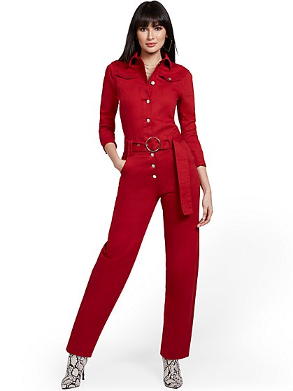 Denim Long-Sleeve Jumpsuit - New York & Company