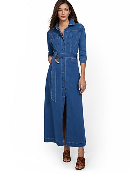 Denim Maxi Shirtdress - New York & Company
