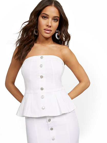 Denim Peplum Bustier Top - New York & Company