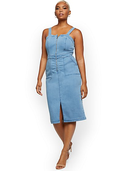 Denim Pinafore Dress - Light Wash - New York & Company