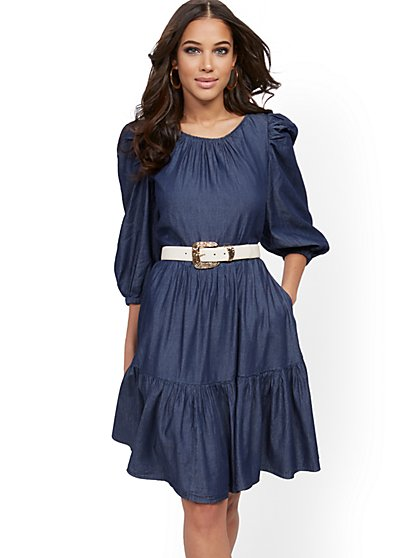 Denim Puff-Sleeve Fit and Flare Dress - New York & Company