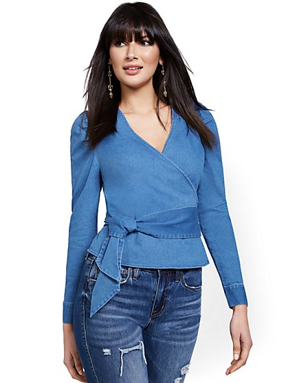Denim Puff-Sleeve Wrap Top - New York & Company
