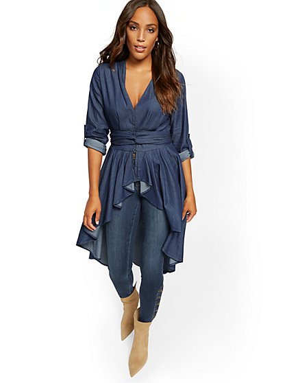 Denim Ruffled Hi-Lo Shirt - Medium Blue - New York & Company