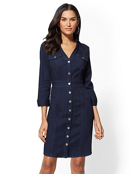 Denim Shirtdress - Dark Wash - New York & Company