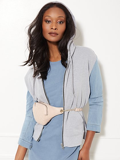 Denim-Sleeve Hooded Zip-Front Sweatshirt - Soho Street - New York & Company