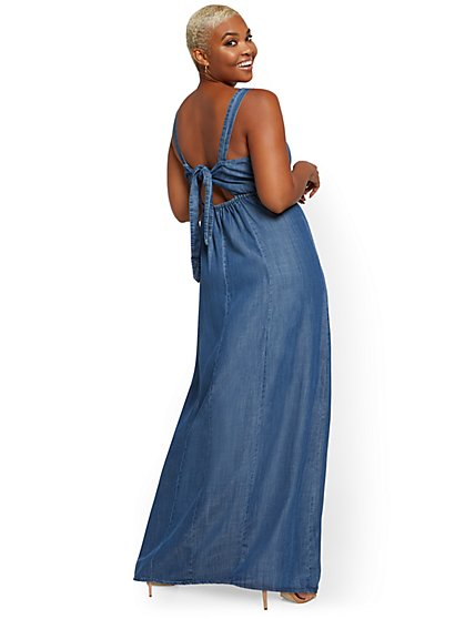 Denim Tie-Back Maxi Dress - New York & Company