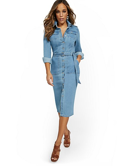 Denim Utility Midi Shirtdress - New York & Company