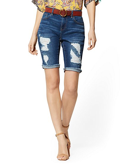 Destroyed 10 Inch Short - Blue Honey - Soho Jeans - New York & Company