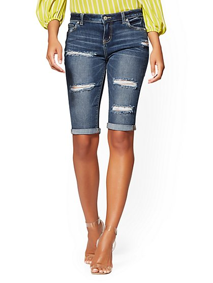Destroyed 13 Inch Bermuda Short - Blue Oasis- Soho Jeans - New York & Company