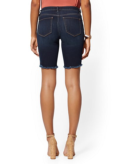 70344070fa ... Destroyed 9 Inch Short - Blue Tease - Soho Jeans - New York & Company  ...