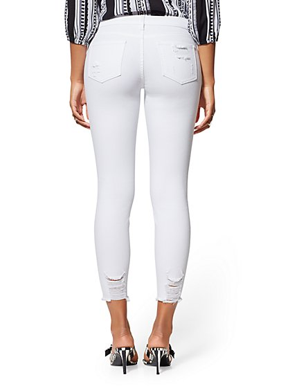 7899788183cb8 ... Destroyed Ankle Legging - White - Soho Jeans - New York & Company