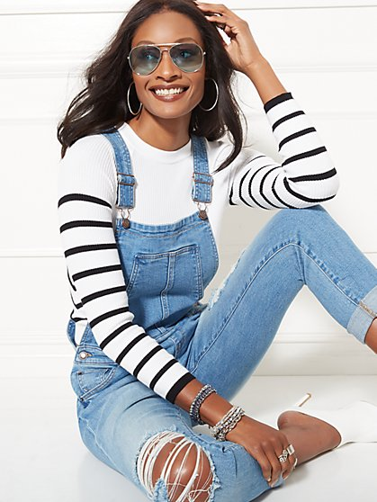 Destroyed Boyfriend Overall - Blue Valley - Soho Jeans - New York & Company