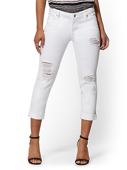 Destroyed Crop Boyfriend Jeans - White - New York & Company