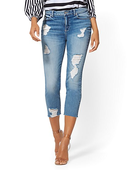 Destroyed Crop High-Waist Boyfriend Jeans - Blue Funk - Soho Jeans - New York & Company
