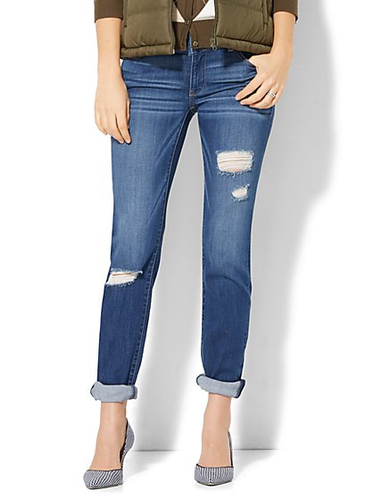 Destroyed Curvy Boyfriend Jeans - Force Blue Wash - New York & Company
