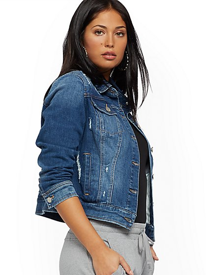 Destroyed Denim Jacket - New York & Company