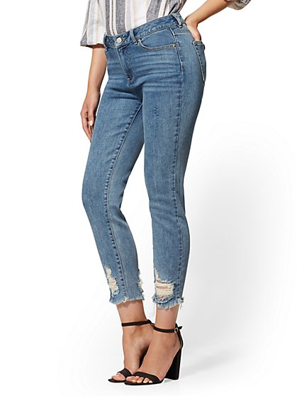 Destroyed High-Waisted Boyfriend Jeans - Happy Blue - New York & Company