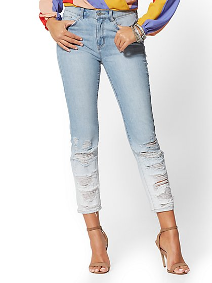 Destroyed High-Waisted Straight Leg Jeans - Indigo - New York & Company