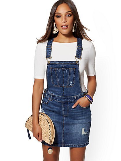 Destroyed Skirt Overall - Medium Blue - New York & Company