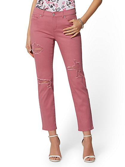 Destroyed Straight Leg Jeans - Pink - Soho Jeans - New York & Company