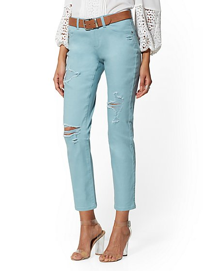 Destroyed Straight Leg Jeans - Pink - New York & Company