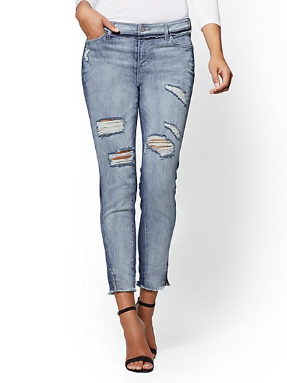 Destroyed Two-Tone High-Waist Boyfriend Jeans - New York & Company