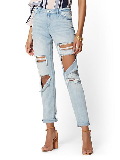 Destroyed Weekender Jeans - Hurricane Blue - Soho Jeans - New York & Company