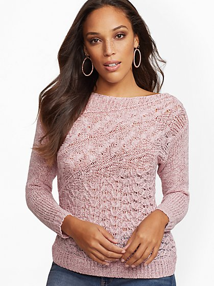 Diagonal-Stitch Sweater - New York & Company