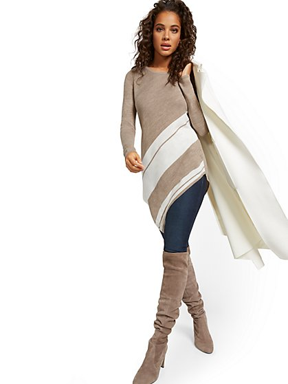 Diagonal-Stripe Tunic Sweater - New York & Company