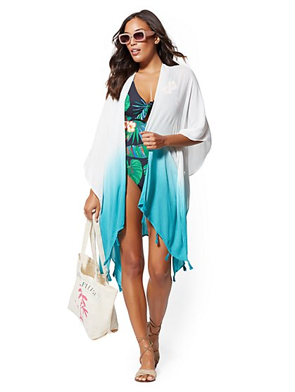 Dip-Dye Tassel-Accent Kimono Coverup - NY&C Swimwear - New York & Company