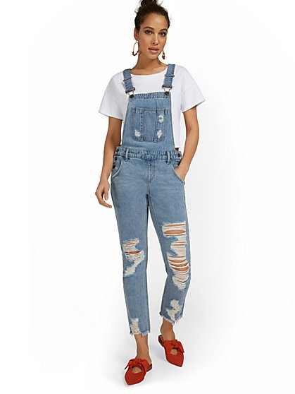 Distressed Boyfriend Overall - Light Wash - New York & Company