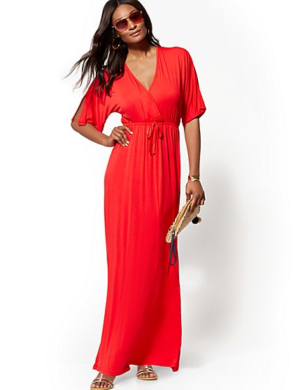 Dolman Wrap Maxi Dress - New York & Company