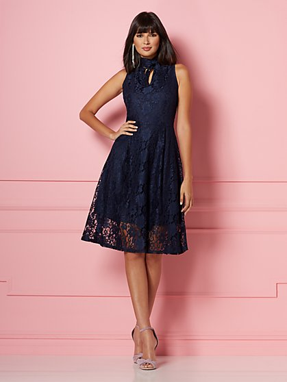 Dorothea Lace Fit and Flare Dress - Eva Mendes Party Collection - New York & Company