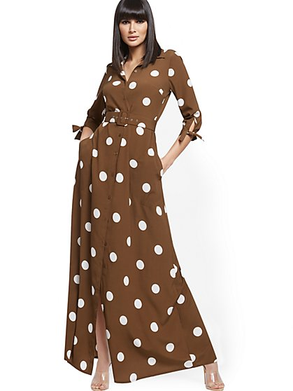 Dot-Print Belted Maxi Shirtdress - New York & Company