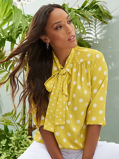 Dot-Print Bow Blouse - Sweet Pea - New York & Company