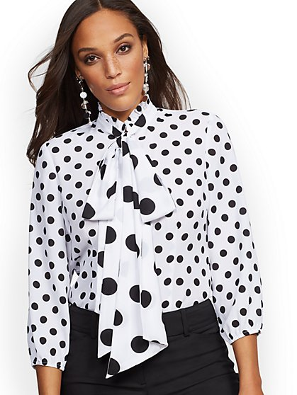 Dot-Print Bow Blouse - New York & Company