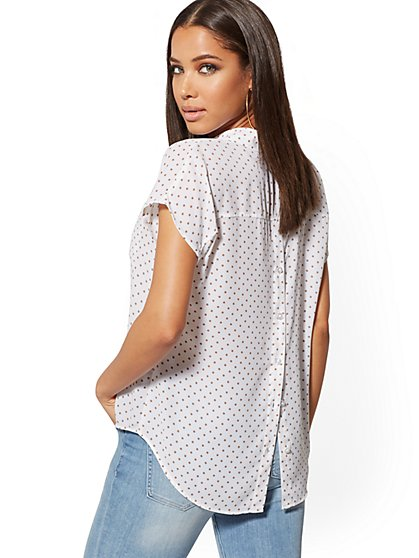 Dot-Print Button-Back Blouse - Soho Soft Blouse - New York & Company