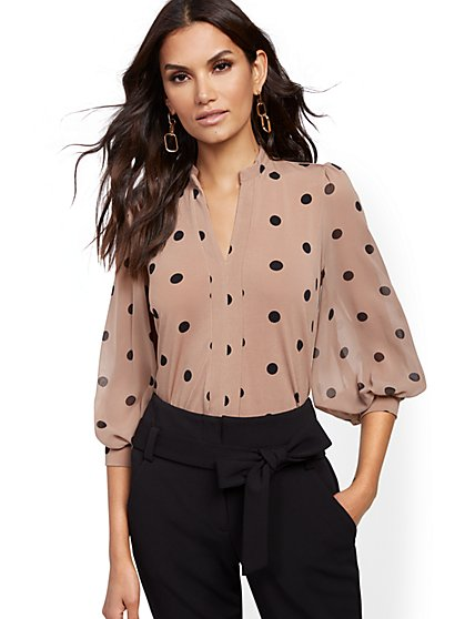 Dot-Print Chiffon-Sleeve Top - 7th Avenue - New York & Company