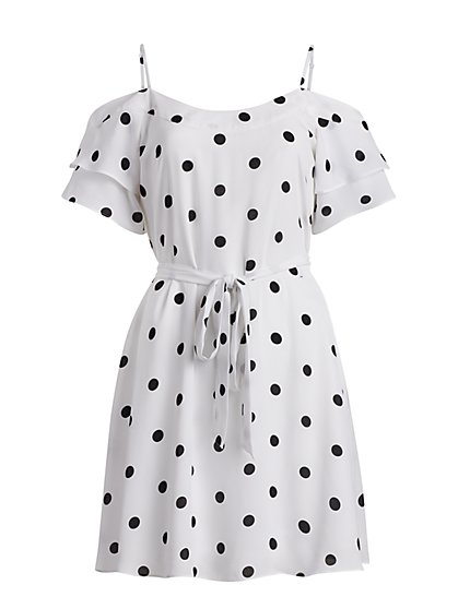 Dot-Print Cold Shoulder Dress - New York & Company