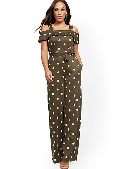 Dot-Print Cold-Shoulder Jumpsuit - New York & Company
